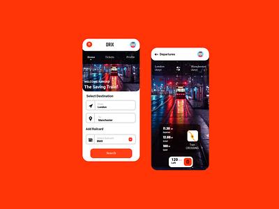 Online Train Booking App Concept graphic design app ui design