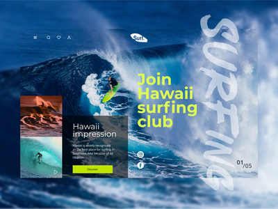 Main page of surfing website travel camp photoshop figma hawaii surfing web ux ui design