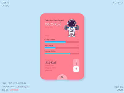 Dailyui016- POPUP/OVERLAY calories exercise app overlay popup dailyui016 ux ui dailyuichallenge dailyui design daily 100 challenge dribbble