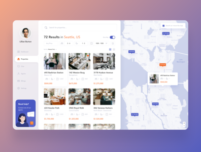 Real Estate Dashboard ui room app dashboard agent filter property search map apartments housing real estate
