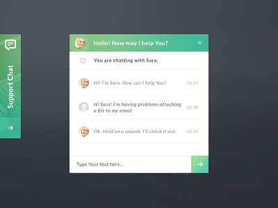 Chat Widget chat widget green clean ios ui message
