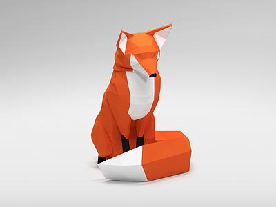 Low poly fox black white orange blender 3d fox poly low