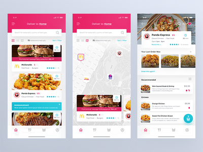 Food Delivery App map ios iphonex app cafe order search find food app restaurant delivery food
