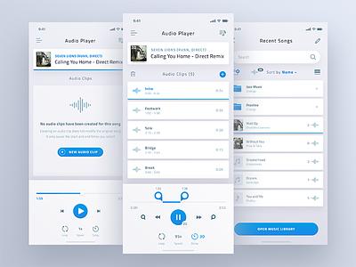 Audio Player App playlist album song ui controls clip iphonex ios app music player audio