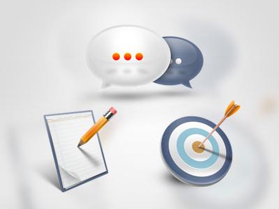 Icons icon target notepad chat bubble testimonials arrow blue gray white orange