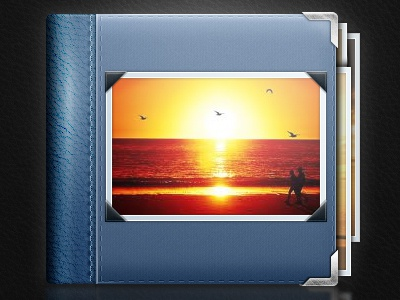 Album Icon WIP icon album gallery photo photos sunset blue textures pattern cover picture stitching leather