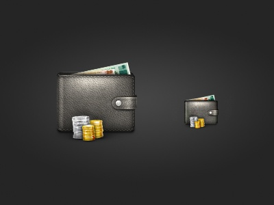 Wallet Icon wallet icon black brown leather texture coins paper money