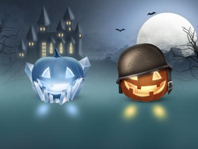 Halloween Pumpkins halloween pumpkin icon game ice fire helmet army thief burglar witch hat soldier spooky moon castle dark light