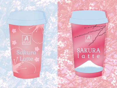 Sakura latte coffee baby blue baby pink pink packaging design beverage packaging latte sakura latte sakura branding packaging brand logo design designer graphique logo design graphique designer portfolio graphic design graphic designer design