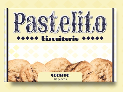 Patelito - Cookito box yellow biscuit cookie package design packaging design food packaging packaging pattern illustration designer graphique marque brand branding logo design logo design graphique designer portfolio graphic design graphic designer design