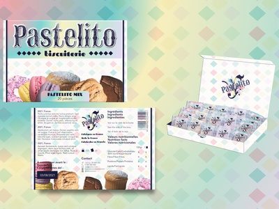 Pastelito - full box macaron doughnut muffin brownie food packaging packaging designer packaging design box box design logo designer logo design branding illustration designer graphique logo design graphique designer portfolio graphic design graphic designer design