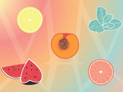Summer Summer illustrations beverage fruit peach illustration watermelon illustration grapefruit illustration mint illustration lemon illustration fruit illustration branding illustration logo designer graphique designer portfolio design graphique graphic designer graphic design design