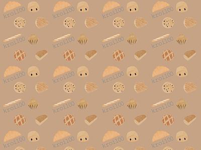 Kroi100 pattern packaging motif pattern baguette pain viennoiserie bakery boulangerie branding brand illustration designer graphique designer portfolio design graphique graphic designer graphic design design