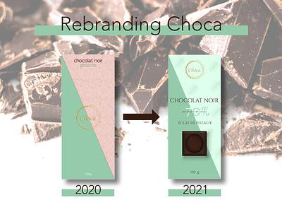 Rebranding Choca - pistachio package food pistachio packaging design chocolate packaging chocolat chocolate brand logo branding illustration designer graphique designer portfolio design graphique graphic designer graphic design design