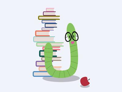 Bookworm apple cute bookworm books education illustration graphic design
