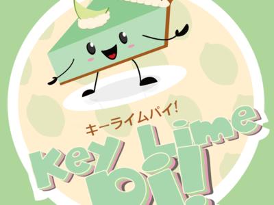 Key Lime Pie - Side Graphic cartoon cute food pie arcade vector illustration