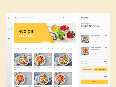 Restaurant My Order Page nearby online shop online store product concept vector typography food layout design layout service website concept webdesign ui ux website design website restaurant branding restaurant design