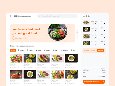 Restaurant My Order Page Concept Version 2.0 food ordering website food ordering website design website concept website webdesign vector ui ux typography service restaurant design restaurant branding product online store online shop nearby layout design layout food concept