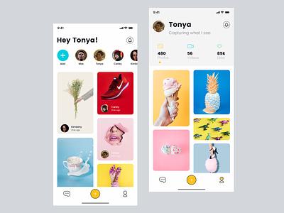Social Photo App ui ux ios clean app story home screen profile color yellow photo app social app