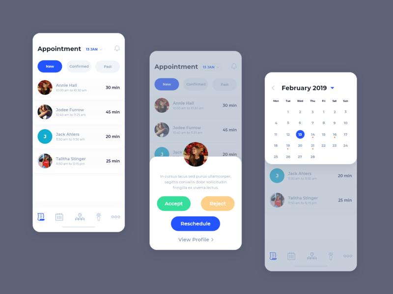 Healthcare App Design patient calendar appointment user mobile doctor app profile health blue clean treatment medical