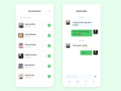 Chat Screen App Design ios 11 mobile messages conversation social ux ui photo chat app
