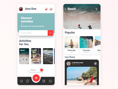 Travel App Design user activities beach ios travel app ux ui icons graphics app travel