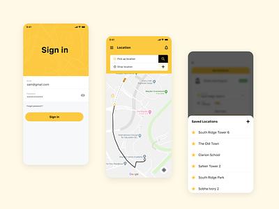 Transport App bus taxi ux ui transport app tracker sign in location ios app
