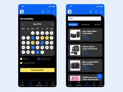 Calendar & Marketplace Screen Design artists adobe xd date marketplace ux ui ios calendar app