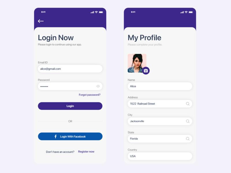 Login & Profile Screen App Design facebook adobe xd ios profile password mobile apps mobile login artists app app
