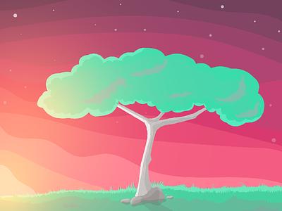 Sunset green evening sky tree sunset sun