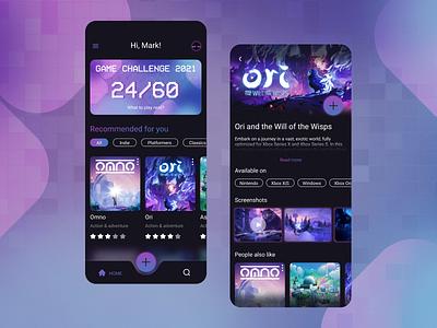 Games tracker mobile app design gradient flat games mobile ui app ux
