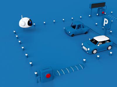 Cartoon 3D Parking motion graphics cartoon illustration parking car ui aftereffects motion designer design blender redshift c4d 3d