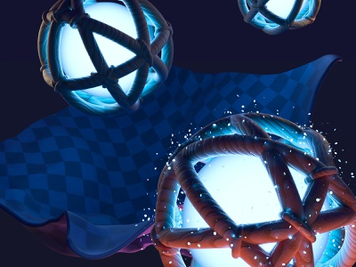 Game dev arcade sphere magic night 3d illustration art game color fast concept