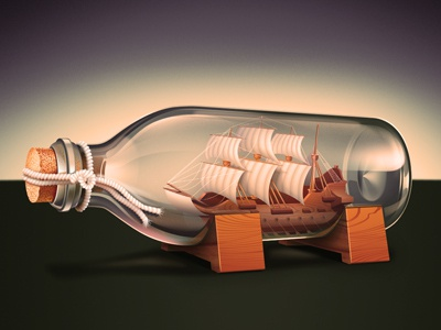 Ship in the glass bottle ship icon bottle glass wood reflections