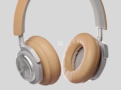 Headphones color details cloth leather model 3d design headphones