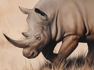 Rhino study sepia paint animal painting art color