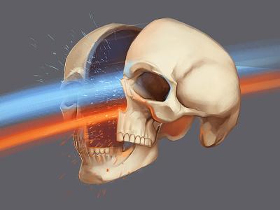 Skull sketch laser rainbow anatomy color art sketch fast skull