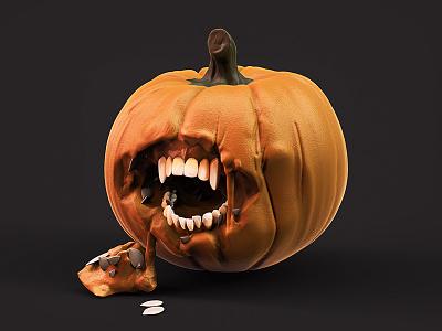 Pumpkin creepy teeth halloween sculpt pumpkin