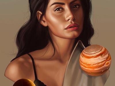 Astronomy universe moon jupiter portrait face woman