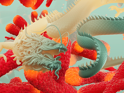 Dragon realistic render china sculpt 3d scales green red color dragon