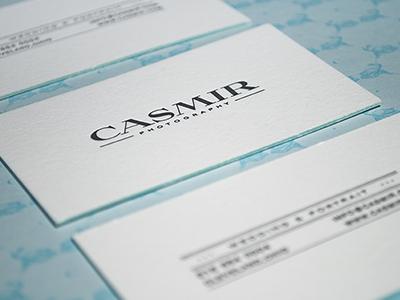 Casmir business cards logo branding casmir photography simple color edges letterpress pattern mint wedding fashion portrait portfolio stationery
