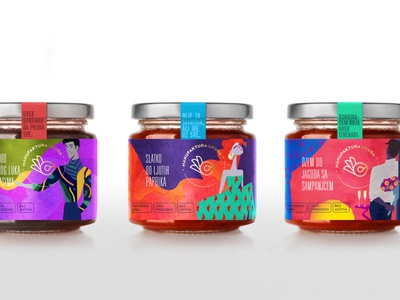 Extraordinary Jams package design label jar organic chutney gold foil character strawberry champagne chilly jam packaging design illustration branding package