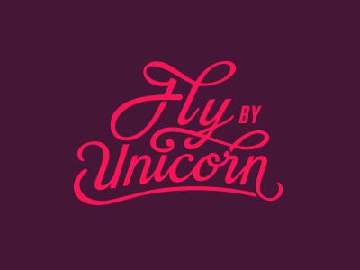 FlyByUnicorn Colour logo typography calligraphy handwritten unicorn branding logotype women technology design