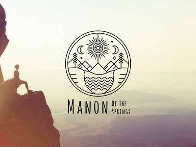Manon Of The Springs sacred logo nature moon sun lineart emblem blog life food travel photography