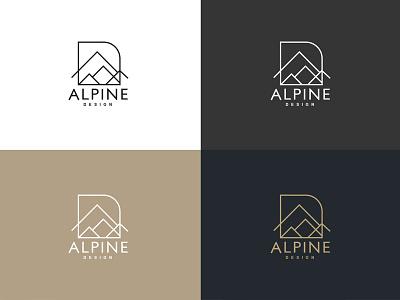 Alpine Design interior texture letter d geometric triangle minimal mountain logo design architecture alpine