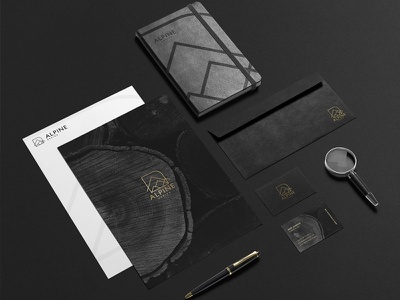 Alpine Design - Stationery design minimal card business notebook gold texture wood stationery architecture