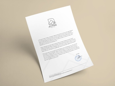 Alpine Design - Letterhead studio architecture alpine gold minimal letterhead branding stationery design