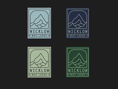 Wicklow Way Lodge lineart minimal green resort mountain nature stickers branding lockups logo