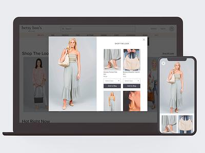 Boutique Shop The Look Modal designs boutique ui design commerce ux ux design ui product ecommerce design shopify store shopify