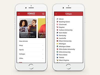 Homage Mobile Navigation user interface information architecture design homage navigation dropdown